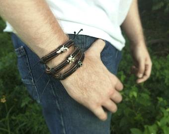 Mens Leather Bracelet - Peronsalized Mens Bracelet For Him - Rustic Mens Jewelry - Mens Gift - Leather Braided Bracelet -Black Male Bracelet