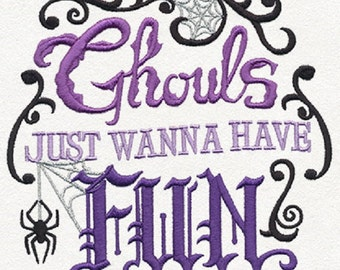 Ghouls Just Wanna Have Fun Embroidered Cotton Kitchen Towel