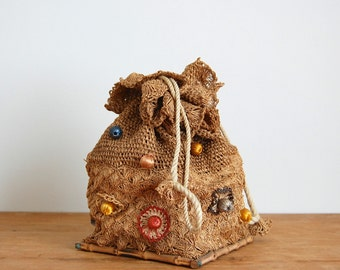 Vintage 1950s Straw Bag - 50s Straw Purse - The June
