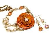 Upcycled Repurposed Orange Statement Necklace, Flower, Pantone Cadmium Orange, Necklace Earring Set, Pearl