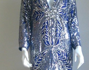 70s 80s vtg art deco sequin dress