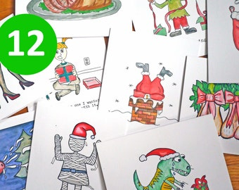 Funny / Rude / Cute Christmas Cards - Holiday Card -  Mix and Match - 12 Pack - Funny Greeting Cards - Watercolor - Rude Cute Funny Witty