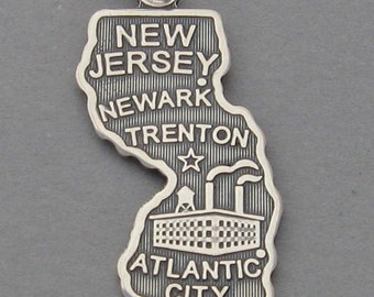 Sterling Silver .925 Charm Pendant NEW JERSEY State Map sc629