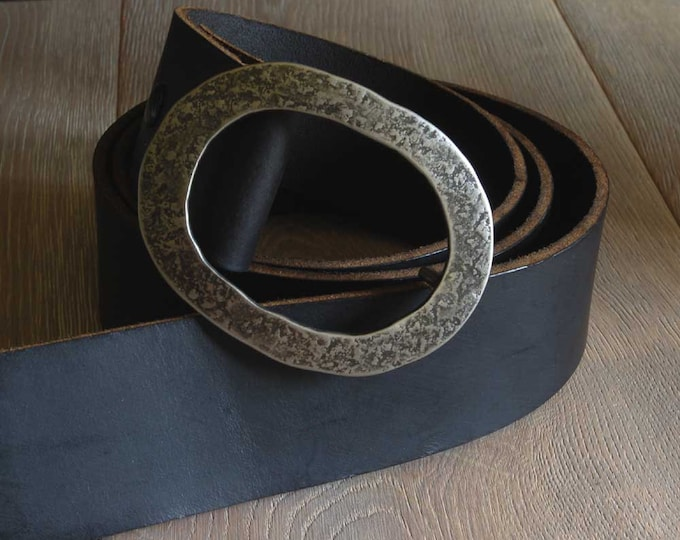 """2"""" Leather Belt with Snaps for Blue Jeans w/ Hand Forged Oval Belt Buckle Wide Motorcycle Belt Custom Cut ~ (Four Colours) w/ Belt Buckle"""