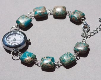 Turquoise jasper geometric bracelet watch, beaded watch bracelet, ocean inspired womens wrist watch