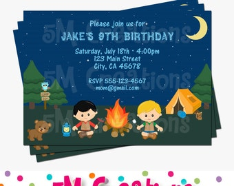 Camping Birthday Party Printable Invitation - Camping Invite - Tent Outdoor Adventure Invitation - Boy Camping Party Personalized Invite