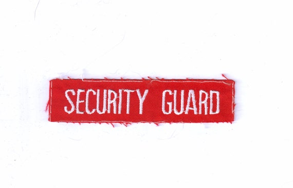 Security Guard Red Canvas Retro Vintage 1970's Sewing Patch Applique