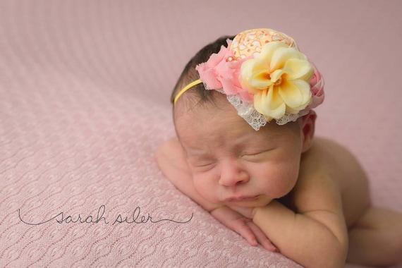 Sunsetter -- rosette, chiffon flower and silk flower headband