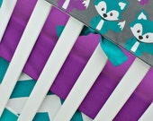 Foxy in Purple, Bumperless Crib Bedding, Baby Bedding, Rail Guards Fox Woodland Forest Turquoise Teal Purple Gray Gender Neutral Nursery Set