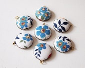 Liberty Fabric Charms 20mm Blue Floral set of 7 Charms DIY Earrings, Necklace, DIY Jewelry, Bridesmaid