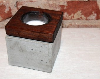 Concrete and Wood Votive Candle Holder