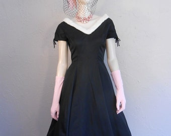 Swing Your Way Into Heaven - Vintage 1950s Black Rayon Cocktail Full Skirt Dress w/Ivory Rabbit Trim