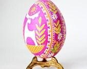 Pink Pysanka egg on chicken egg shell hand painted egg decorations keepsakes symnol of fertility healthy lifestock animal's health