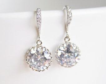 Bridesmaid Earrings, Wedding Earrings, Cubic Zirconia Drop Earrings, Bridal Earrings, Bridal Jewelry, Wedding Jewellery, Round Drop Earrings