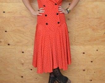 Vintage 80's Dress Red & Black Drop Waist Triangle Print Size Small Medium