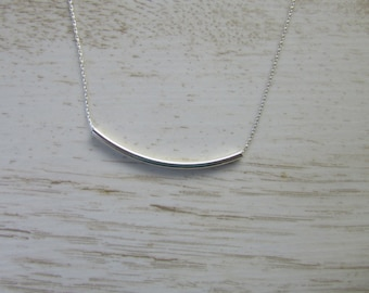 Bar Necklace, Sterling Silver Bar Necklace, Layering Necklace, Tube Bar Necklace, Bar Pendant, Simple Silver Necklace, Layered and Long