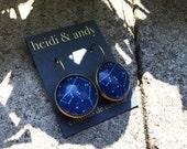 Constellations - Space - Stars - Sky - Dark Blue - Drawing - Hand Made - Brass - Earrings Loop - Earring Hoop - French Lever - 18mm,