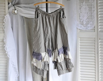 Upcycled baggy bloomer pants Large xl tattered ruffles bagabond hobo beach gypsy pirate fall cropped pant linen cotton