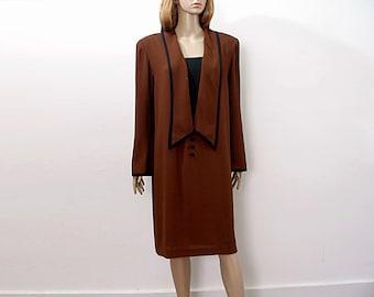 1980s Shift Dress Vintage Chocolate Brown Black Trim Flattering Dress / Large
