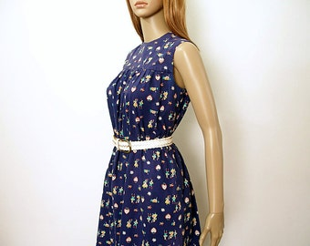 Vintage 1960s Babydoll Dress Navy Blue Colorful Handmade Sleeveless Dress / Small