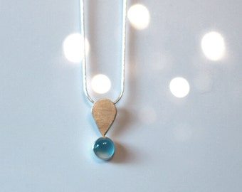 Exclamation Blue Chalcedony and Sterling Silver Handmade Pendant