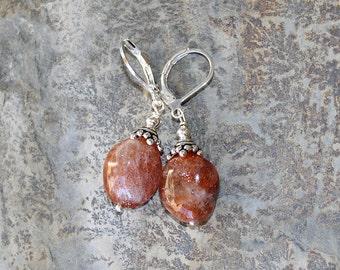 Sun Stone Earrings, Natural Stone Earrings, Apricot Earrings, Peach Earrings, Handmade Earrings, Silver Earrings, Beaded Earrings, Fall