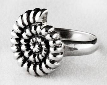 Ammonite Sterling Silver Ring
