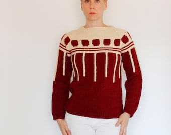 Vintage 70's / 80's hand knit acrylic sweater, maroon & beige / off white, squares, stripes, warm, soft, unique, ooak, red, skiing - Medium