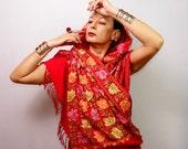 Red Pashmina Shawl, Pure Wool Pashmina Wrap, Pure Silk Embroidered Pashmina, Leaf Pashmina Scarf, Wedding Shawl, Bride Pashmina Unique Gift