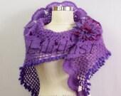 Purple Shawl, Bridal Shawl Wrap, Crochet Shawl, Crochet Lace Shawl, Bride Bridesmaid Cover Up Wedding Shawl, Violet Bridal Shrug Bolero