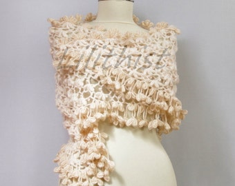 Ivory Shawl, Bridal Wrap, Crochet Shawl, Wedding Shawl, Ivory Beige Bridal Shrug Bolero, Wedding Wrap, Crochet Lace Shawl, Cover Up