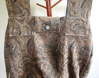 Carpet Bag Tote Civil War Reenactor Victorian Steampunk Tapestry Lined Wood Handles Tan - Extra Large