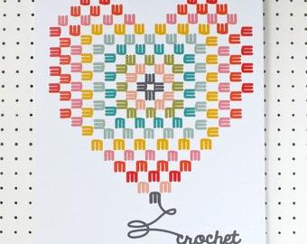 Crochet Heart Granny Square Print A3 Poster