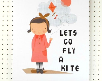 Girl with kite Print Poster