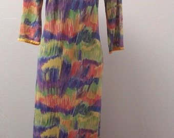 1960s to Early 1970s 3/4 Sleeve Nylon/Acetate Monet Look Print in Rainbow Colors, Size Large, 53290