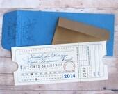 Punch Card Ticket - Train Depot Union Station Railroad Travel Ticket Wedding, Reception, Birthday, Bar Mitzvah or Bat Mitzvah Invitation