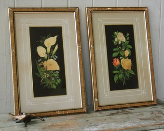 Pair of Antique Floral Botanical Chromolithograph Prints in Gold Frames