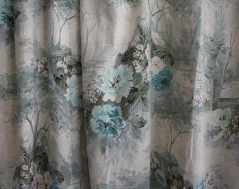 Pair of 1950's 40s Blue Grey Floral Print Curtains // Two Panels