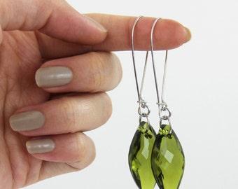 Big Green Swarovski Crystal Earrings - Olive Green Silver Diamond Dangle Drop Earrings - Fancy Long Sparkle Simple
