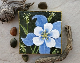 Periwinkle Columbine Flower Painting, original miniature botanical art, small 3x3 inch wildflower on canvas, green white