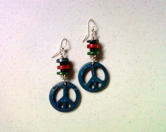 Dark Teal Blue, Green and Red Peace Earrings (1309)