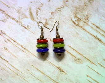 Red, Lime Green and Royal Blue Earrings (2186)
