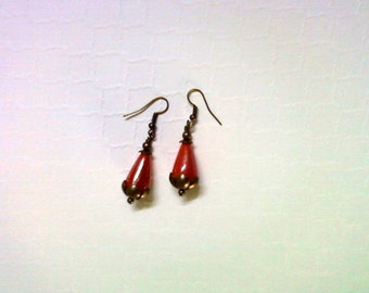 Red Luster Teardrop Earrings (2233)