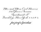 "Return Address Stamp with a Calligraphy Script Font.  Mounted with Wooden Handle or Self-Inking Address Stamp (20378) 3"" x 1"" (4 Lines)"