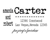"Large Return Address Stamp - Distressed Vintage Typewriter Font -  Mounted with Wooden Handle or Self-Inking  Stamp - 20208 - 3"" x 1 1/2"""