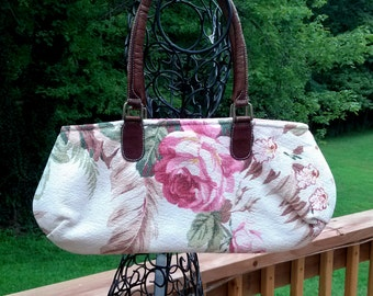 Vintage Barkcloth Bark Cloth Pink Rose Fabric Handbag Purse Small Bag Shoulder Bag
