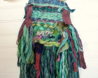 Fiber Art Textile Beach Decor Serene Blue , Rustic Weaving Hand Woven Wall Hanging