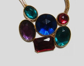 Vintage unsigned cabochon necklace choker