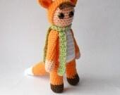 crocheted fox, crocheted doll, Amigurumi fox, Amigurumi doll, crocheted toy, fox girl, girl doll, plush doll
