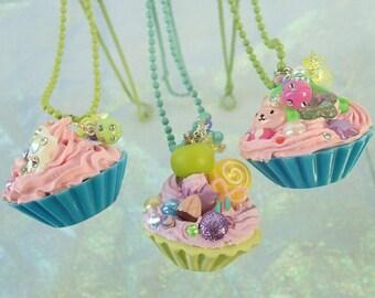LAST CHANCE SALE Half off Deco Cupcake 80s Sparkle Exploding Candy Decora Deco den Sweet Lolita Fairy Kei Kawaii Necklace Pendant Blue Pink